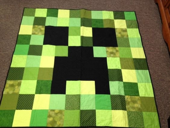 Minecraft Creeper Pattern Printable Creeper Quilt From Minecraft Quilts Pinterest