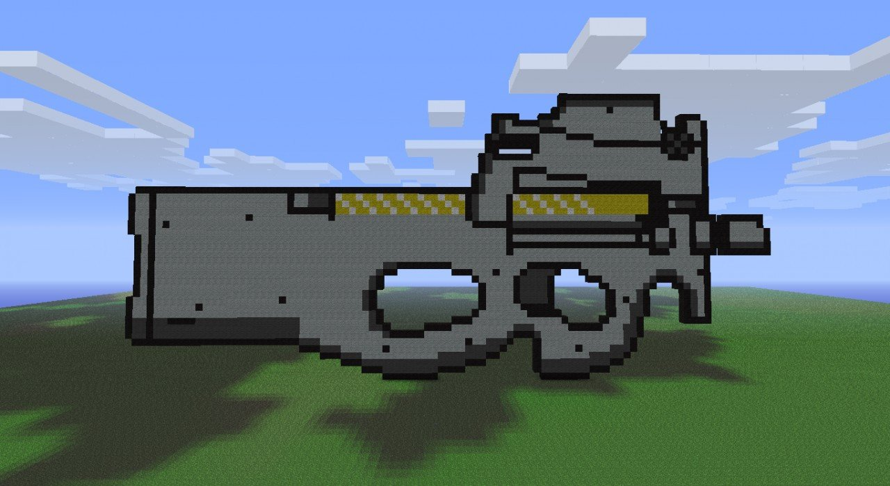 Minecraft Gun Pixel Art Fn P90 Gun Pixel Art Minecraft Project