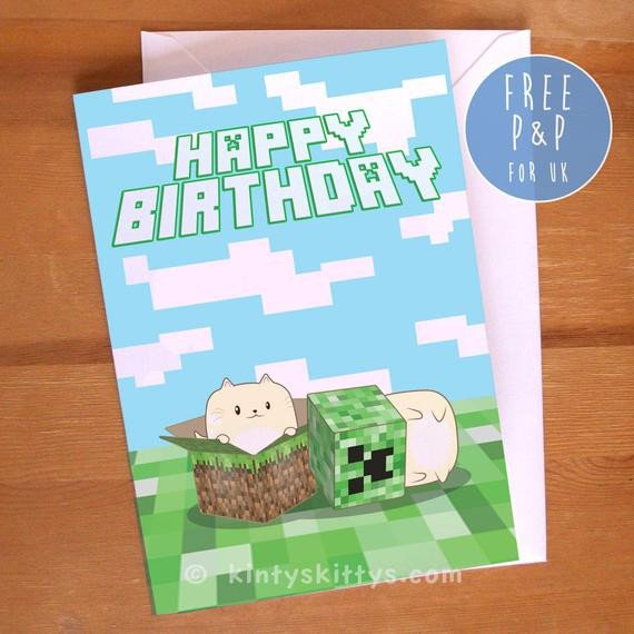 Minecraft Happy Birthday Images Items Similar to Minecraft Creeper Kittys Happy Birthday