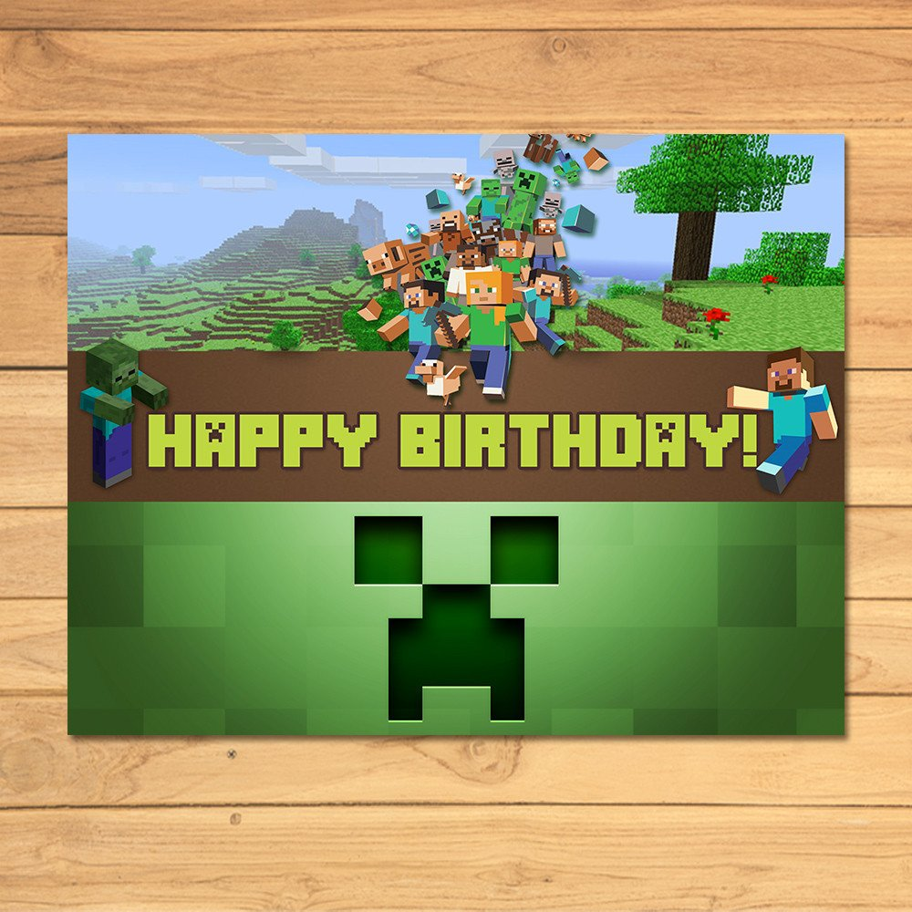Minecraft Happy Birthday Images Minecraft Birthday Sign Green Blocks by Monkstavern On