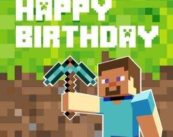 Minecraft Happy Birthday Images Minecraft Party Backdrop Design Birthday Party Digital File