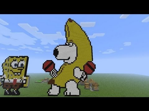 Minecraft Pixel Art Banana Minecraft Brian Griffin Banana Pixel Art Build