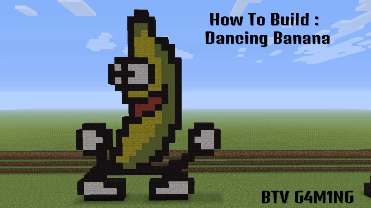 Minecraft Pixel Art Banana Minecraft Pixel Art Tutorial Dancing Banana