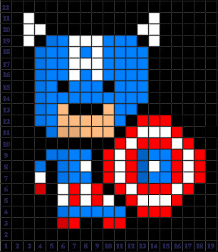 Minecraft Pixel Art Grid Captain America Pixel Art Templates