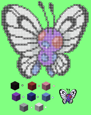 Minecraft Pixel Art Template Maker Minecraft Pixel Template butterfree by Myzou On Deviantart