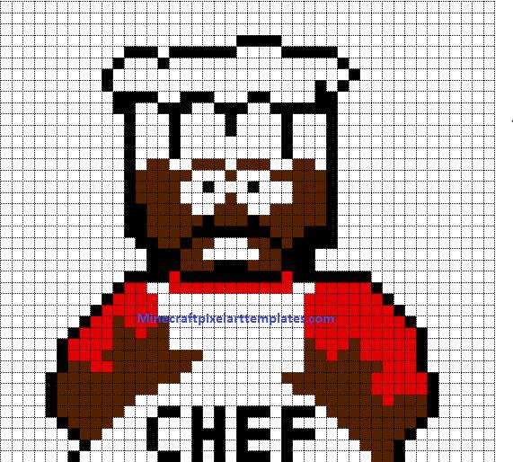 Minecraft Pixel Art Template Minecraft Pixel Art Templates Chef south Park