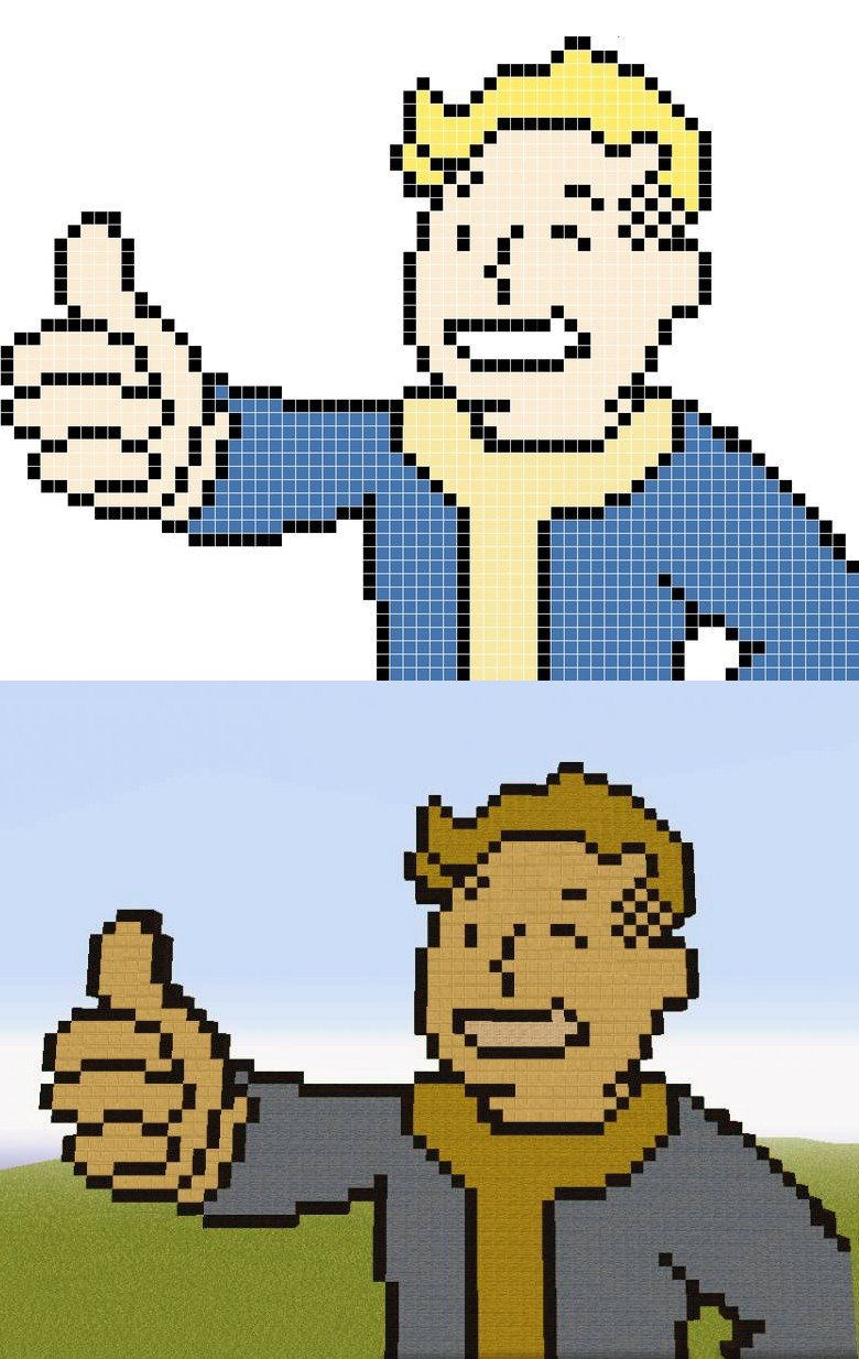 Minecraft Pixel Art Templates Minecraft Fallout Pixel Art Templates