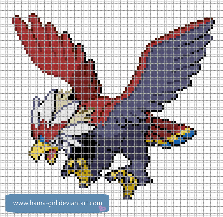 Minecraft Pokemon Pixel Art Grid Braviary by Hama Girl On Deviantart