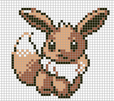 Minecraft Pokemon Pixel Art Grid Eevee by Hama Girl On Deviantart