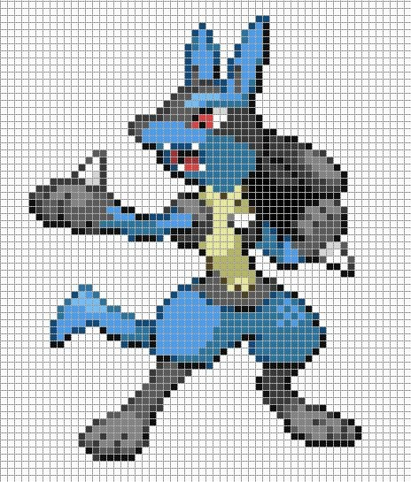 Minecraft Pokemon Pixel Art Grid Lucario by Hama Girl Poke Pixel Art to Do