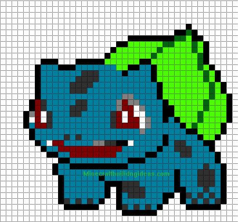 Minecraft Pokemon Templates Minecraft Pixel Art Templates Bulbasuar