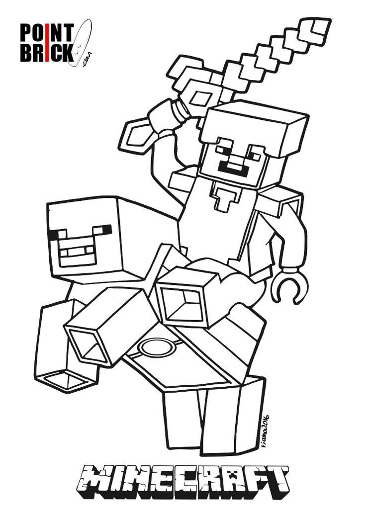 Minecraft Printable Coloring Pages Disegni Da Colorare Lego Minecraft Steve E Alex