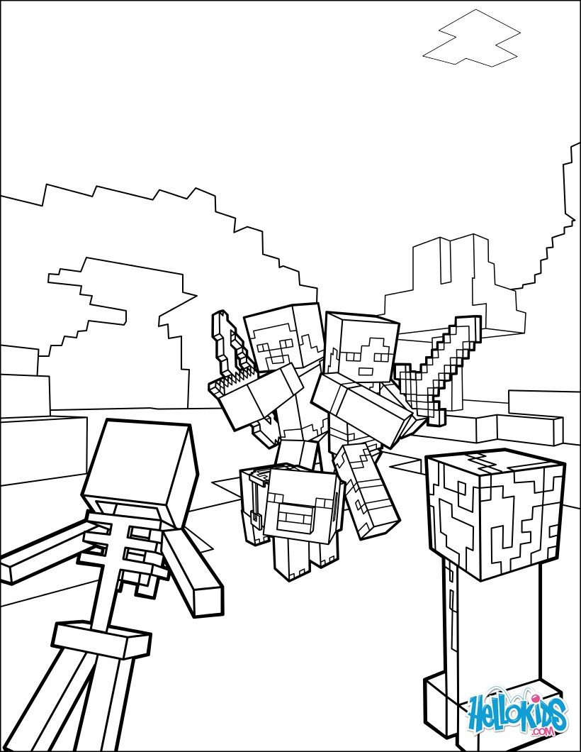 Minecraft Printable Coloring Pages Minecraft Coloring Page Fight All the Mobs Coloring