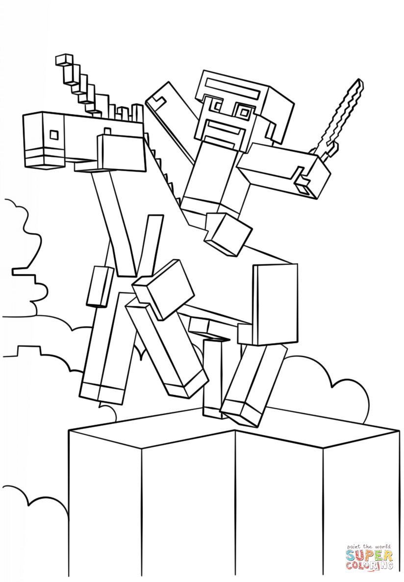 Minecraft Printable Coloring Pages Minecraft Unicorn Coloring Page