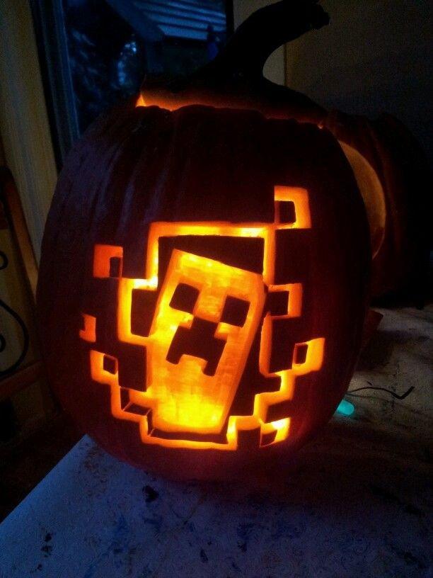 Minecraft Pumpkin Stencils Minecraft Pumpkin Halloween Decor Treats