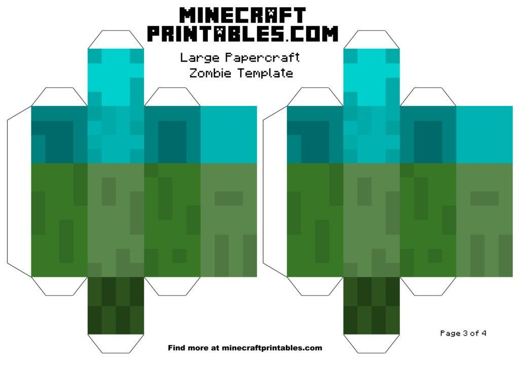 Minecraft Zombie Template Minecraft Printable Papercraft Zombie Template