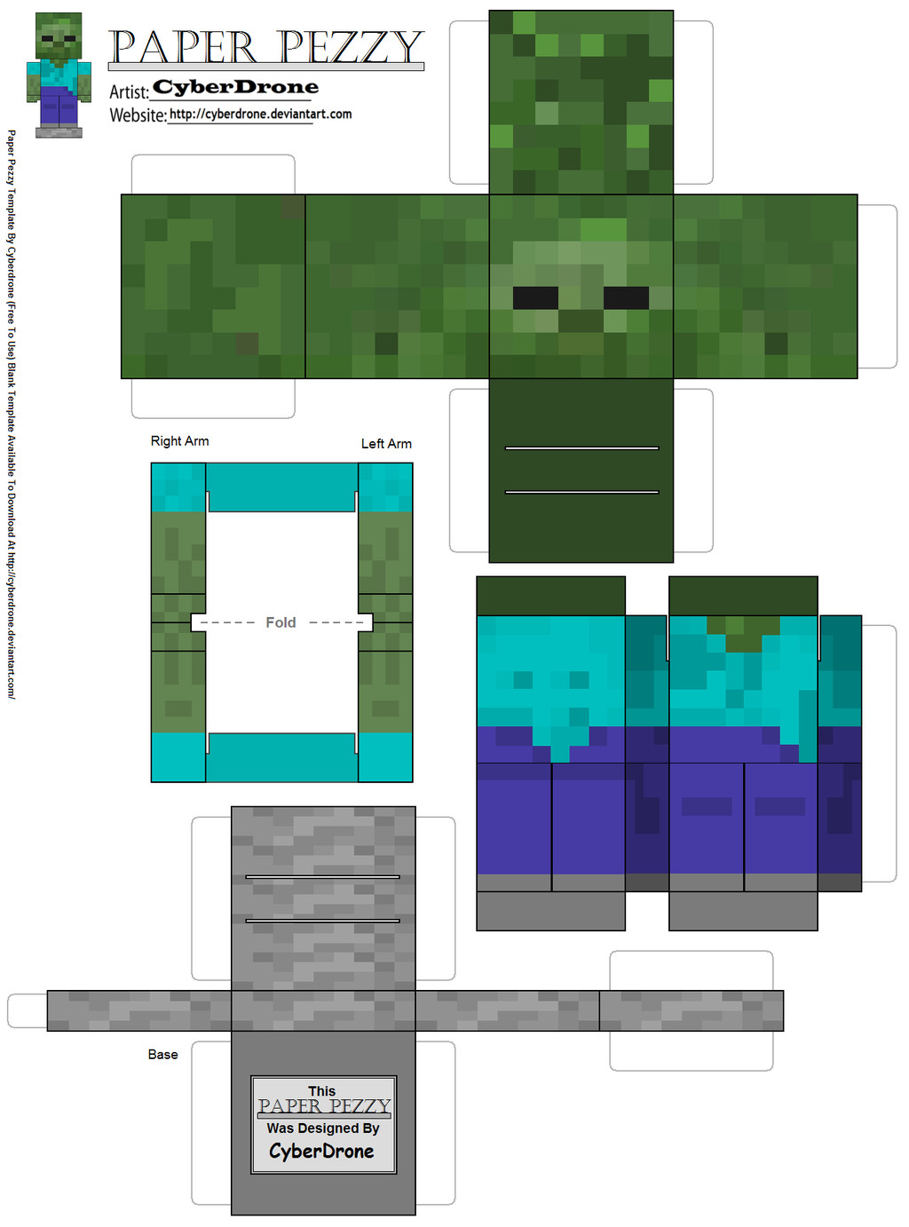 Minecraft Zombie Template Paper Pezzy Zombie Minecraft by Cyberdrone On Deviantart