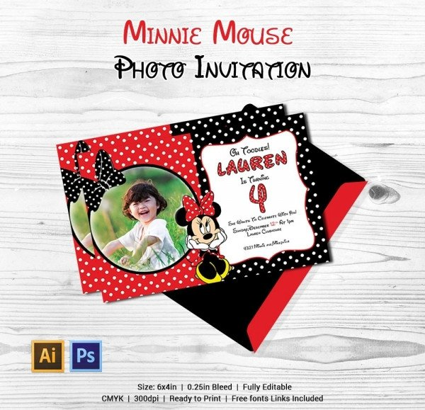 Minnie Mouse Invitation Maker Awesome Minnie Mouse Invitation Template 27 Free Psd