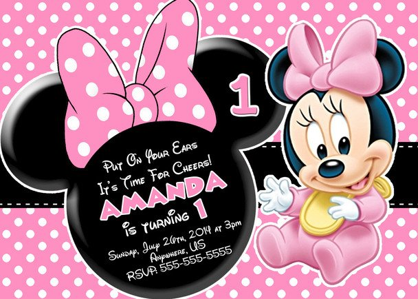 Minnie Mouse Invitation Maker Baby Minnie Mouse 1st Birthday Invitations