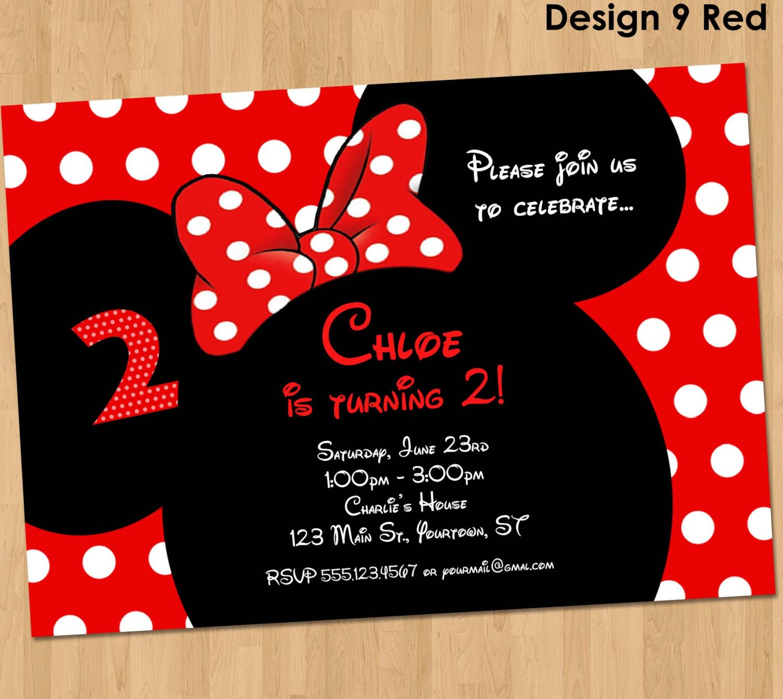 Minnie Mouse Invitation Maker Minnie Mouse Invitation Printable Birthday Party Custom