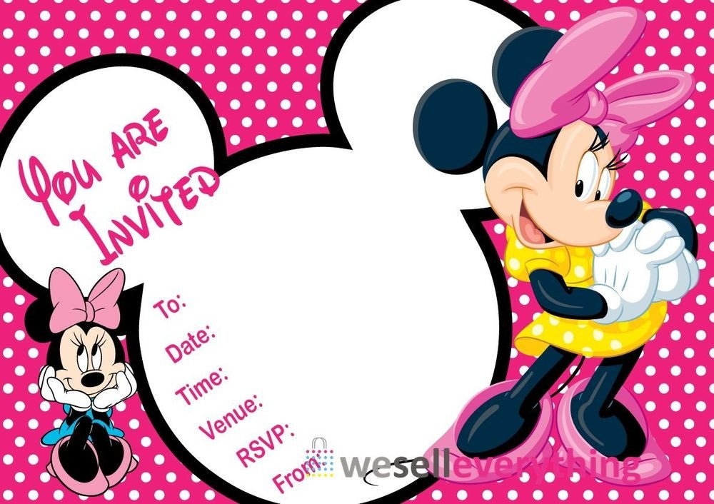 "Minnie Mouse Party Invitations 20 Minnie Mouse Party Invitations Kids Children""s Invites"