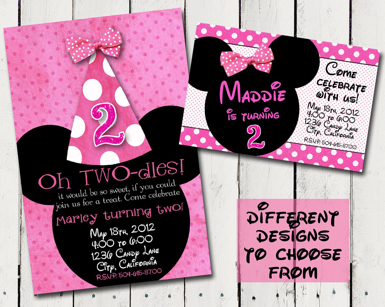 Minnie Mouse Party Invitations Chalkboard Birthday Invitation Custom by Tamiraycardsandprint