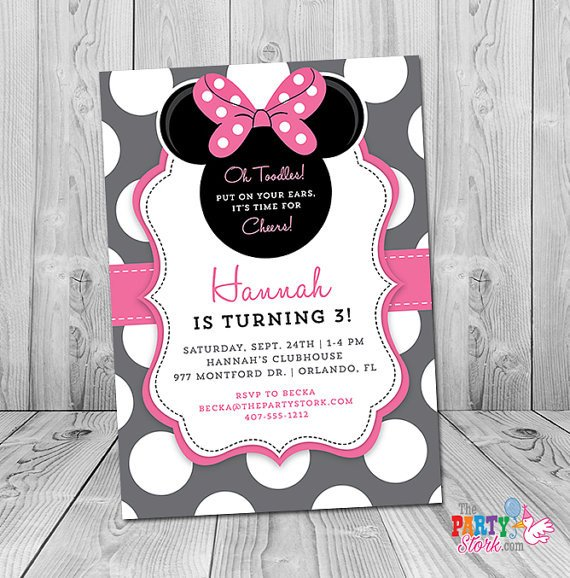 Minnie Mouse Party Invitations Minnie Mouse 3rd Birthday Invitation Minnie Mouse Birthday