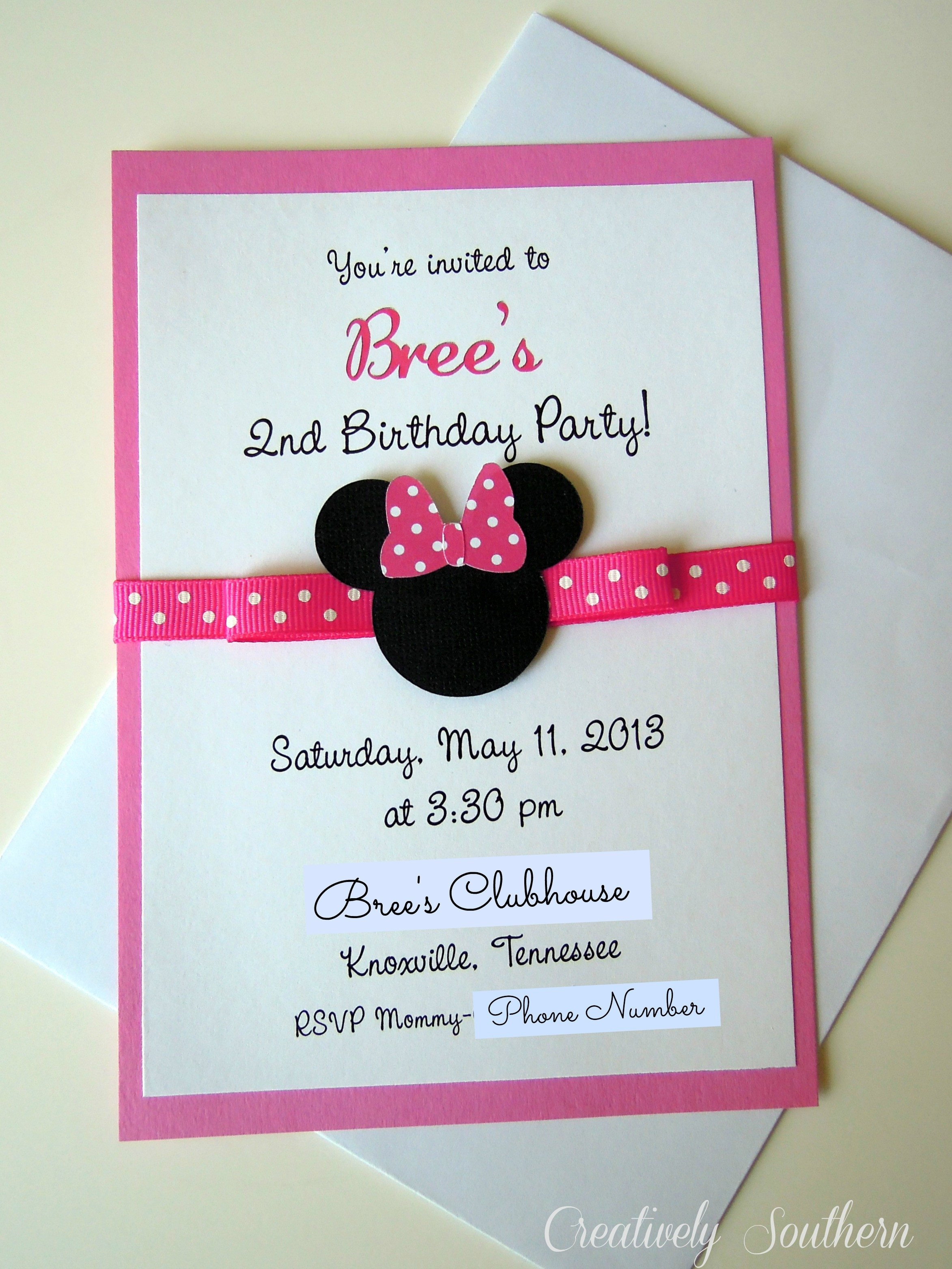 Minnie Mouse Party Invitations Minnie Mouse Birthday and Paper Mache