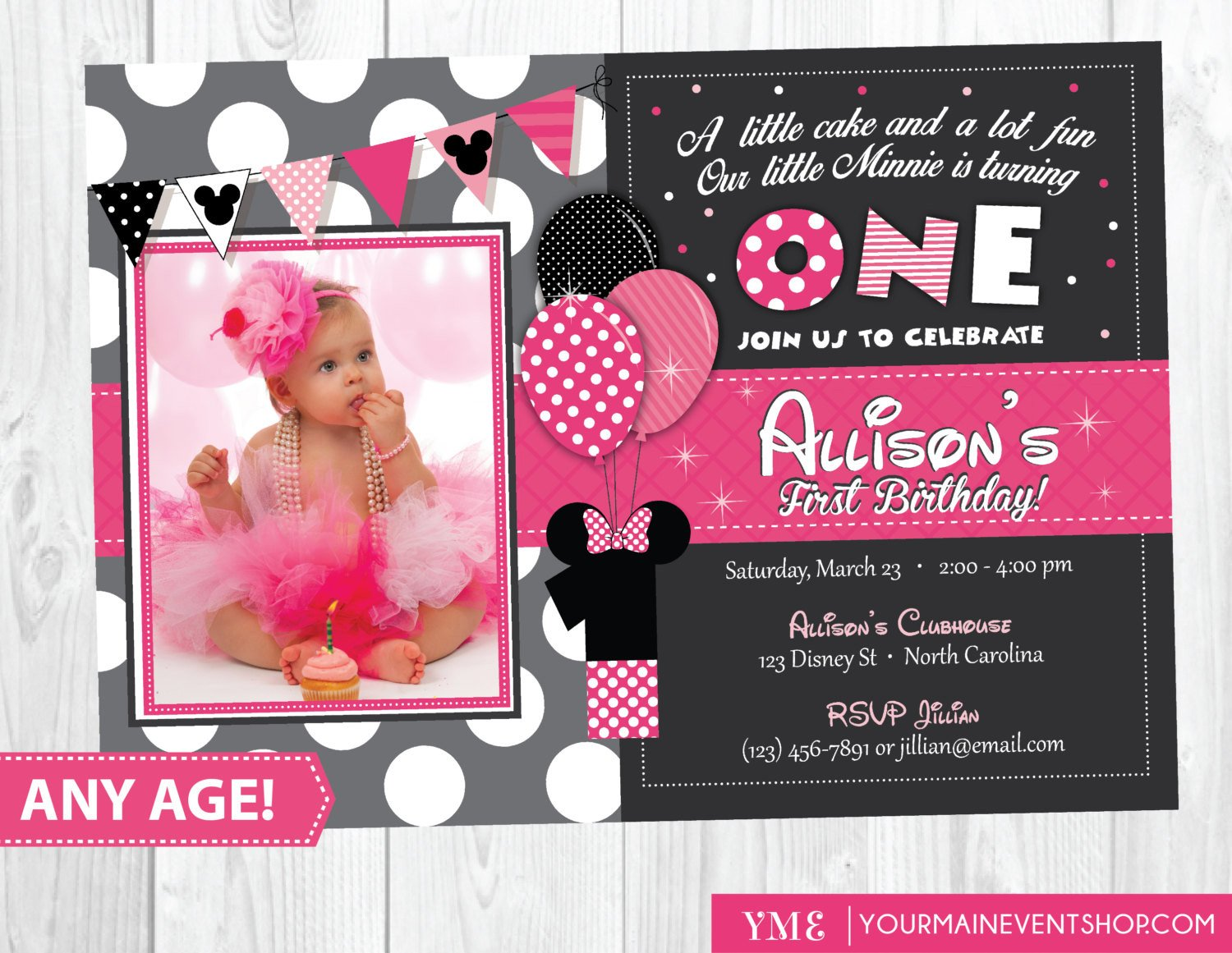 Minnie Mouse Party Invitations Minnie Mouse Birthday Invitation Minnie Mouse Inspired