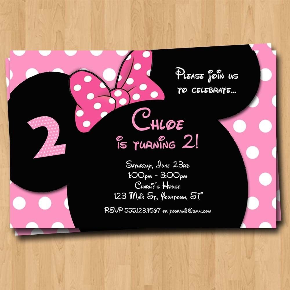 Minnie Mouse Party Invitations Minnie Mouse Birthday Invitation Party Invites Custom