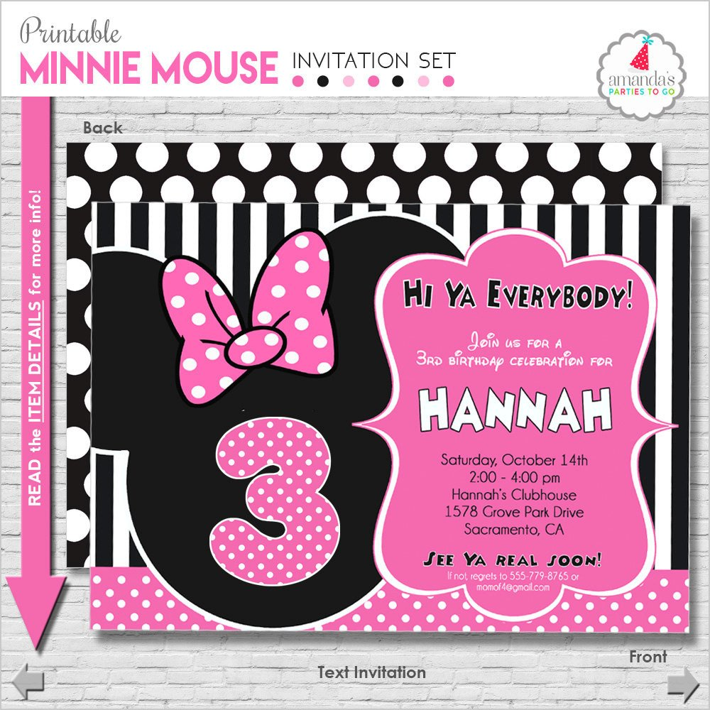Minnie Mouse Party Invitations Minnie Mouse Birthday Invitation Printable Minnie Mouse