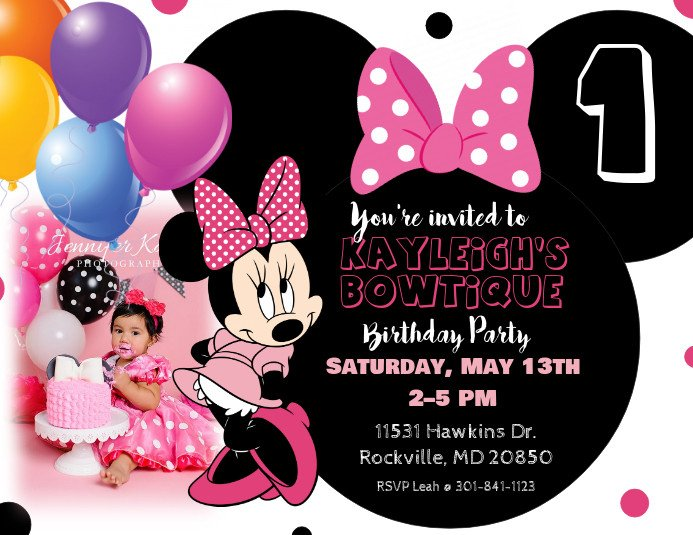 Minnie Mouse Party Invitations Minnie Mouse Birthday Invitation Template