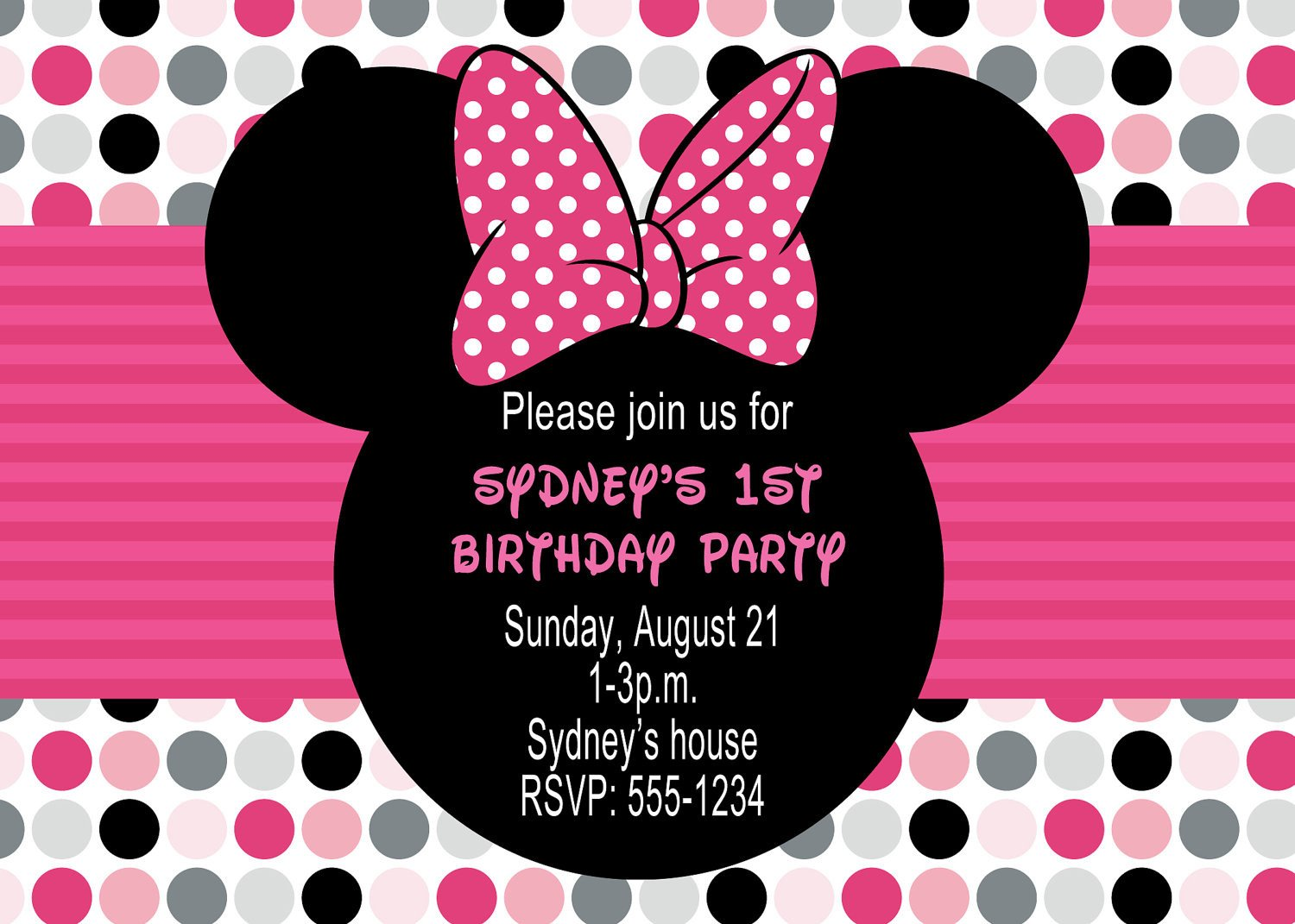 Minnie Mouse Party Invitations Minnie Mouse Birthday Party Invitations