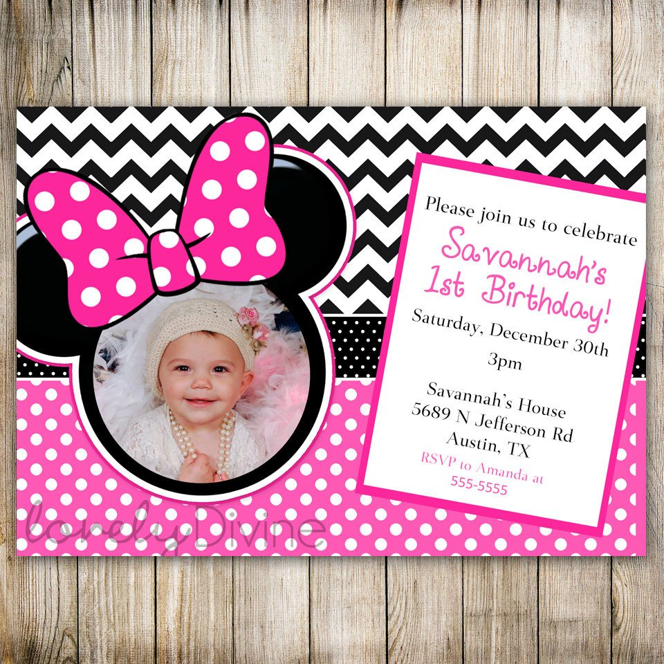 Minnie Mouse Party Invitations Minnie Mouse Chevron Birthday 1st Birthday Invitation 2nd