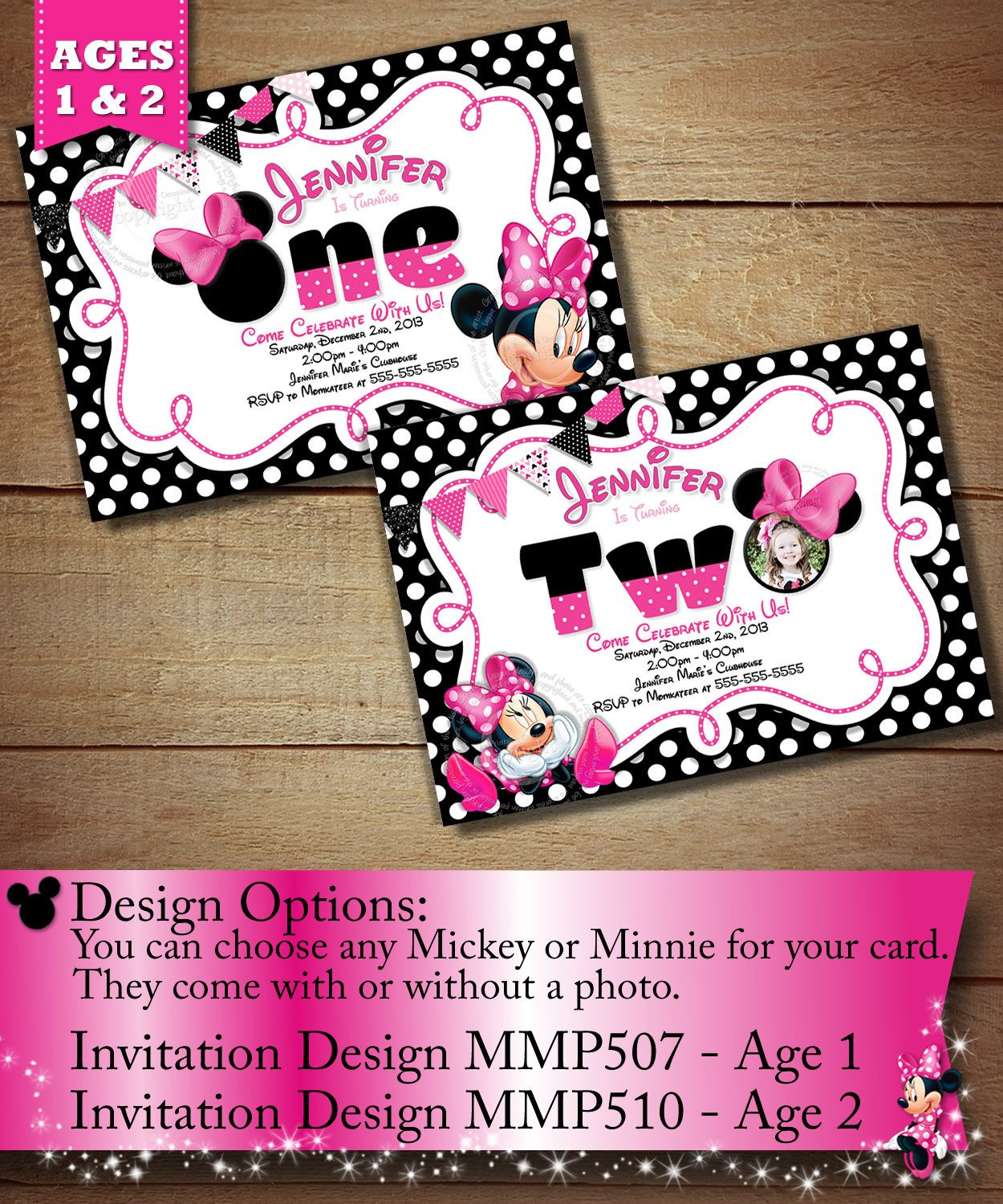 Minnie Mouse Party Invitations Minnie Mouse First Birthday Invitation Minnie Mouse Second