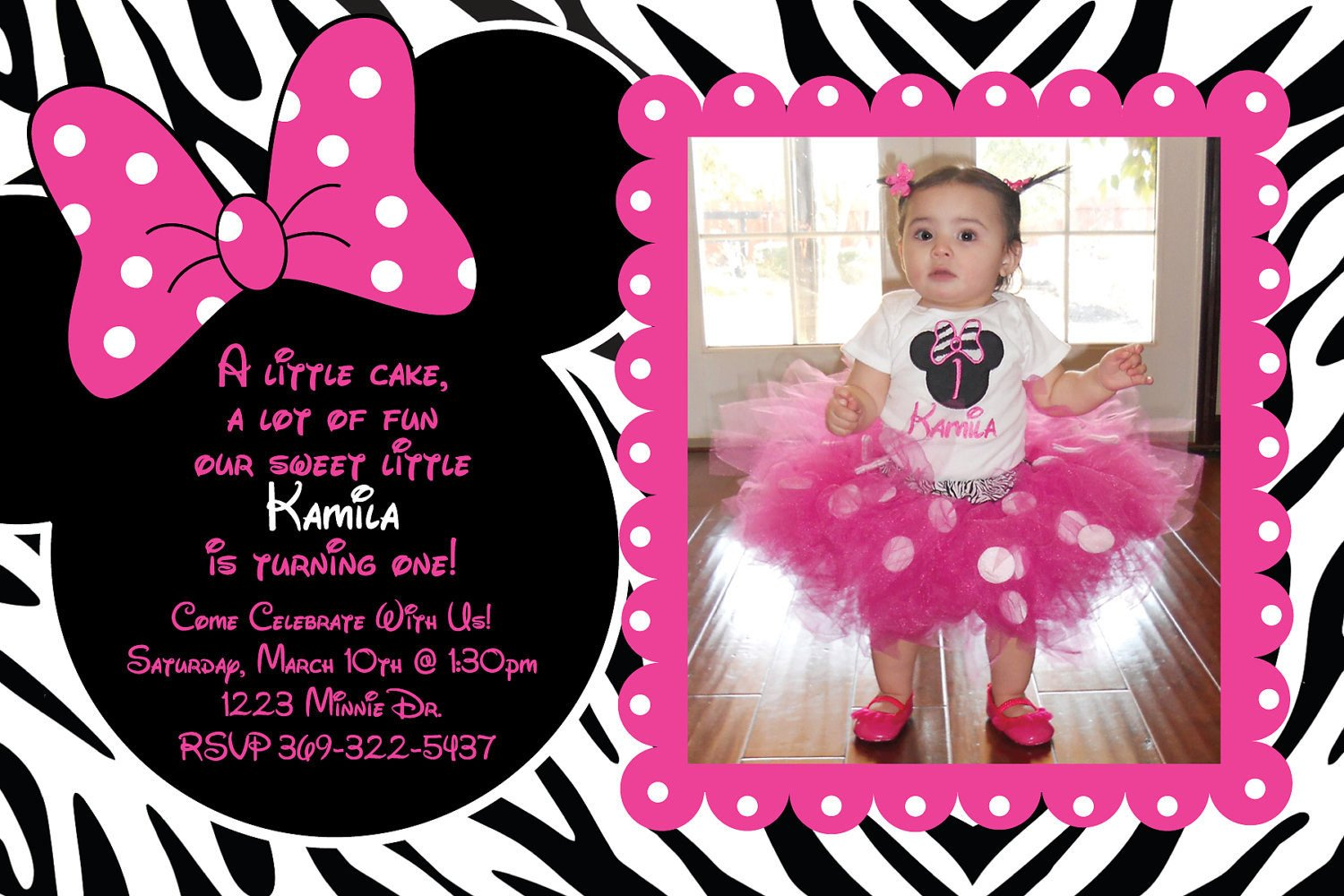Minnie Mouse Party Invitations Minnie Mouse Hot Pink and Zebra Birthday by