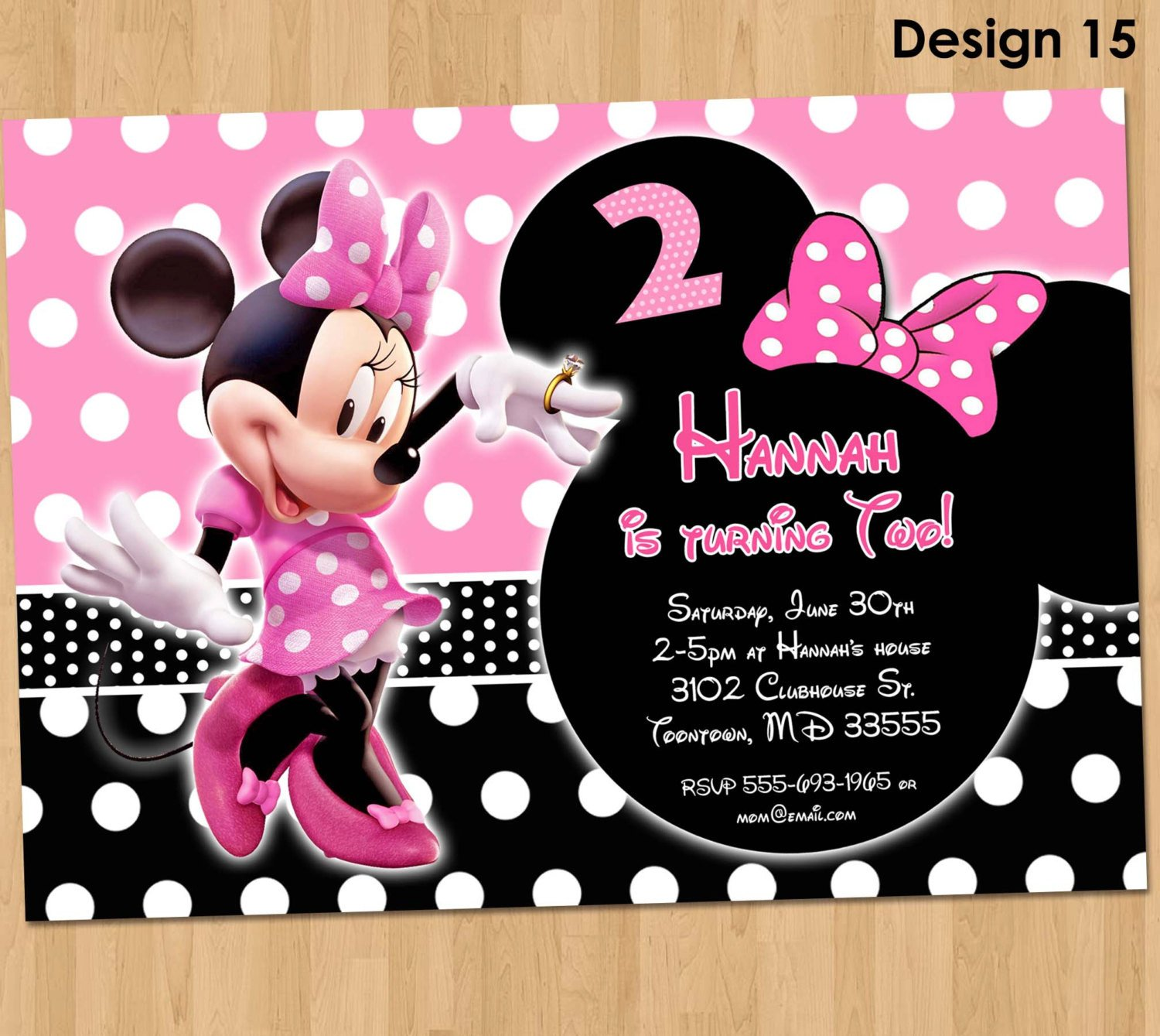 Minnie Mouse Party Invitations Minnie Mouse Invitation Minnie Mouse Birthday Invitation