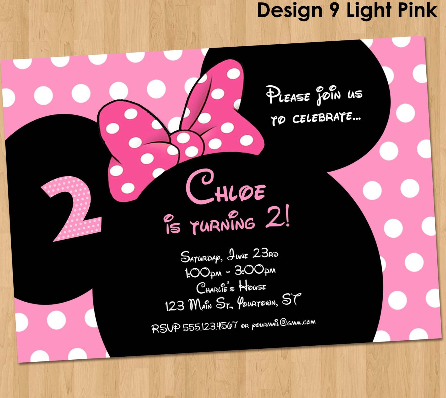 Minnie Mouse Party Invitations Minnie Mouse Invitation Printable Birthday Party Custom