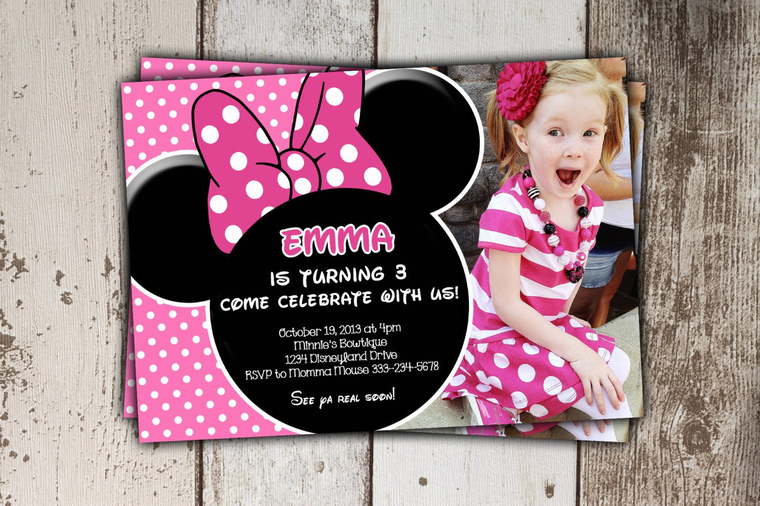 Minnie Mouse Party Invitations Minnie Mouse Invitations Pink Birthday Invitations with