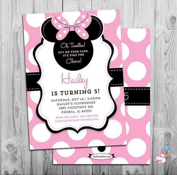 Minnie Mouse Party Invitations Minnie Mouse Invites Minnie Mouse Party Third Birthday