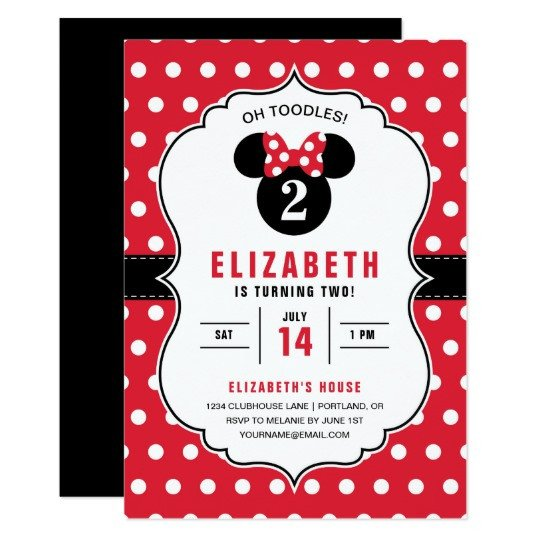 Minnie Mouse Party Invitations Minnie Mouse