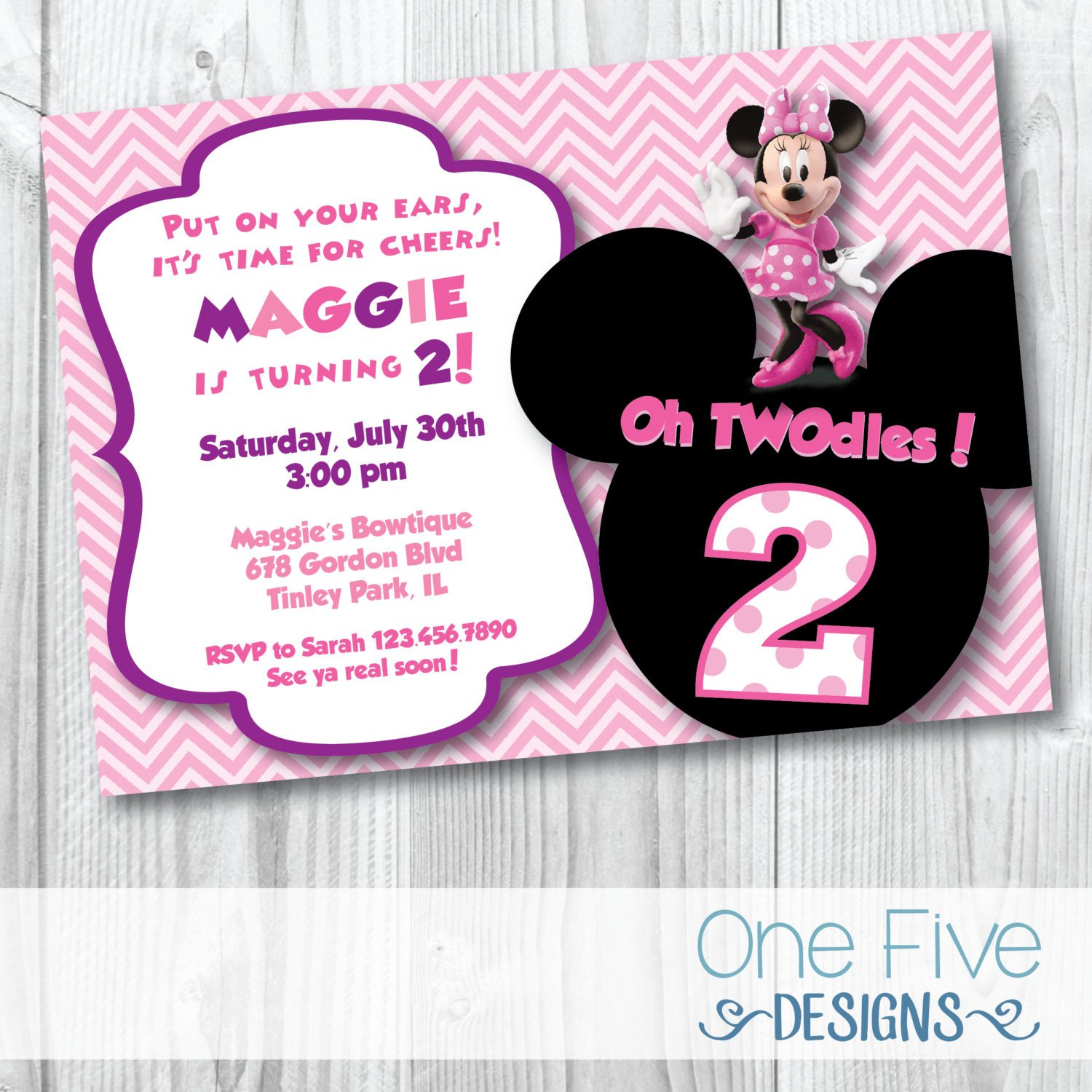 Minnie Mouse Party Invitations Minnie Mouse Oh Twodles Birthday Party Invitation