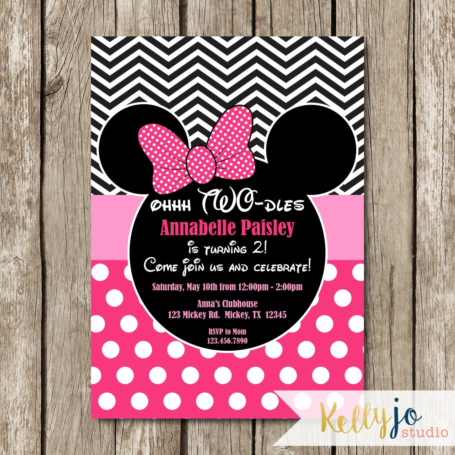 Minnie Mouse Party Invitations Pink Minnie Mouse Oh Two Dles Birthday Invites Pink Minnie