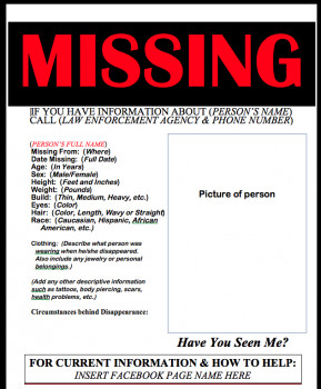Missing Person Flyer Template Ds106 assignments Missing Person