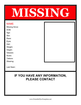 Missing Person Flyer Template Missing Person Flyer