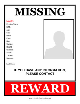 Missing Person Flyer Template Missing Person Flyer Reward