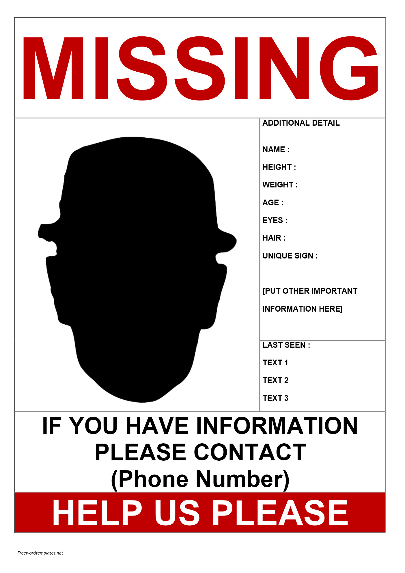 Missing Person Flyer Template Missing Person Poster Template