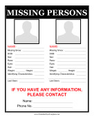 Missing Person Flyer Template Newest Additions