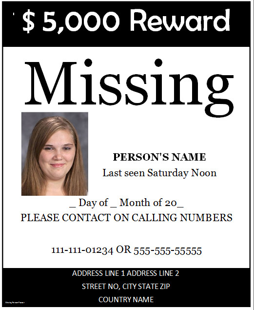 Missing Person Flyer Template Poster Templates Archives Microsoft Word Templates