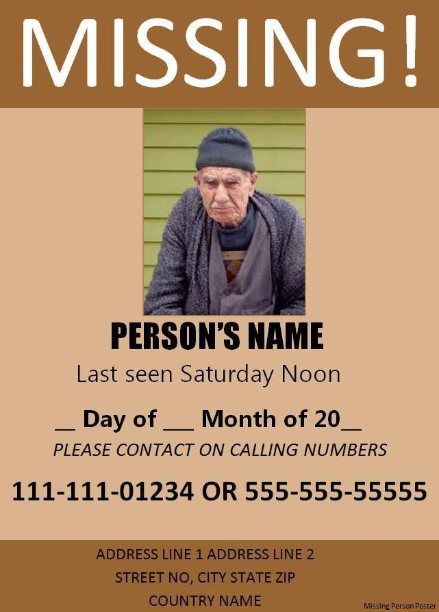 Missing Person Poster Template 11 Missing Person Poster Templates